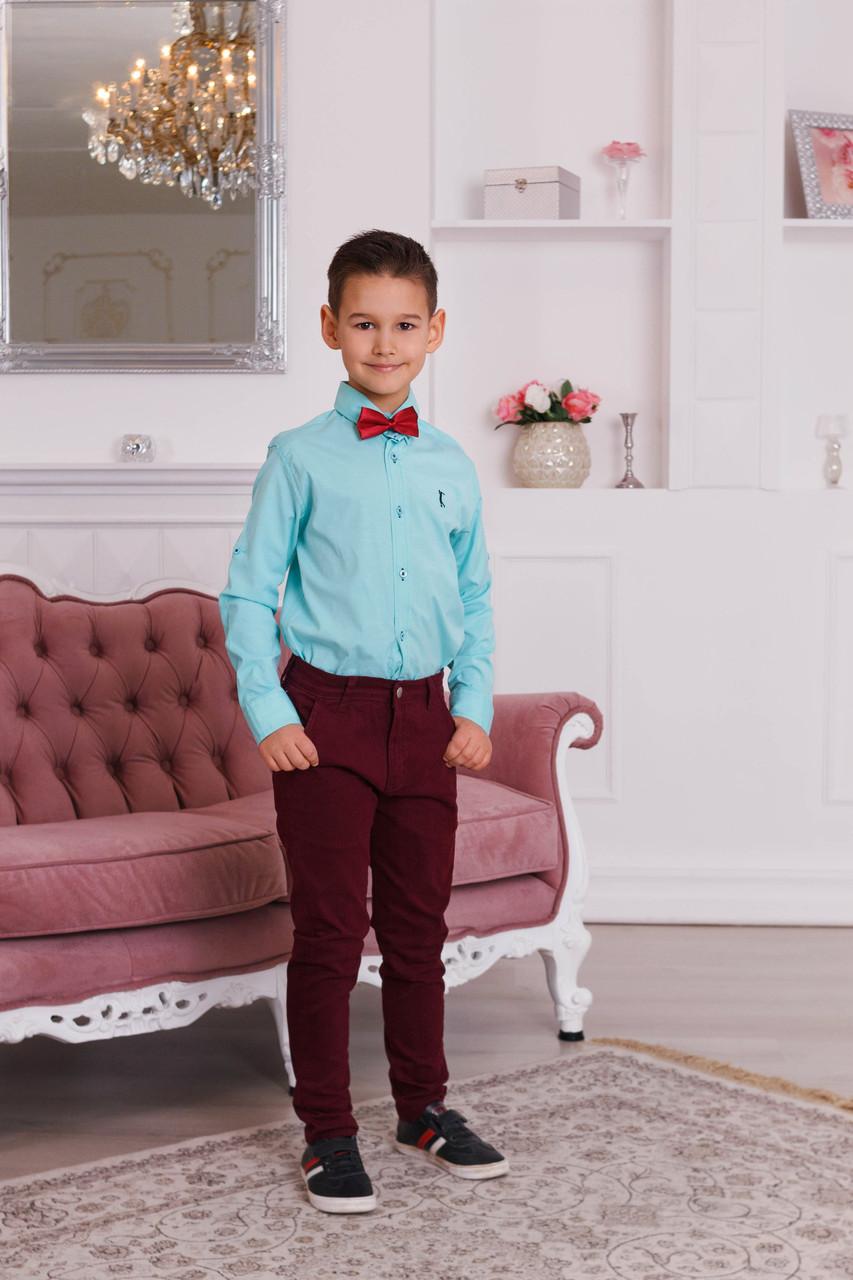 Праздничный комплект для мальчика бирюзовая рубашка Armani и бордовые брюки Polo