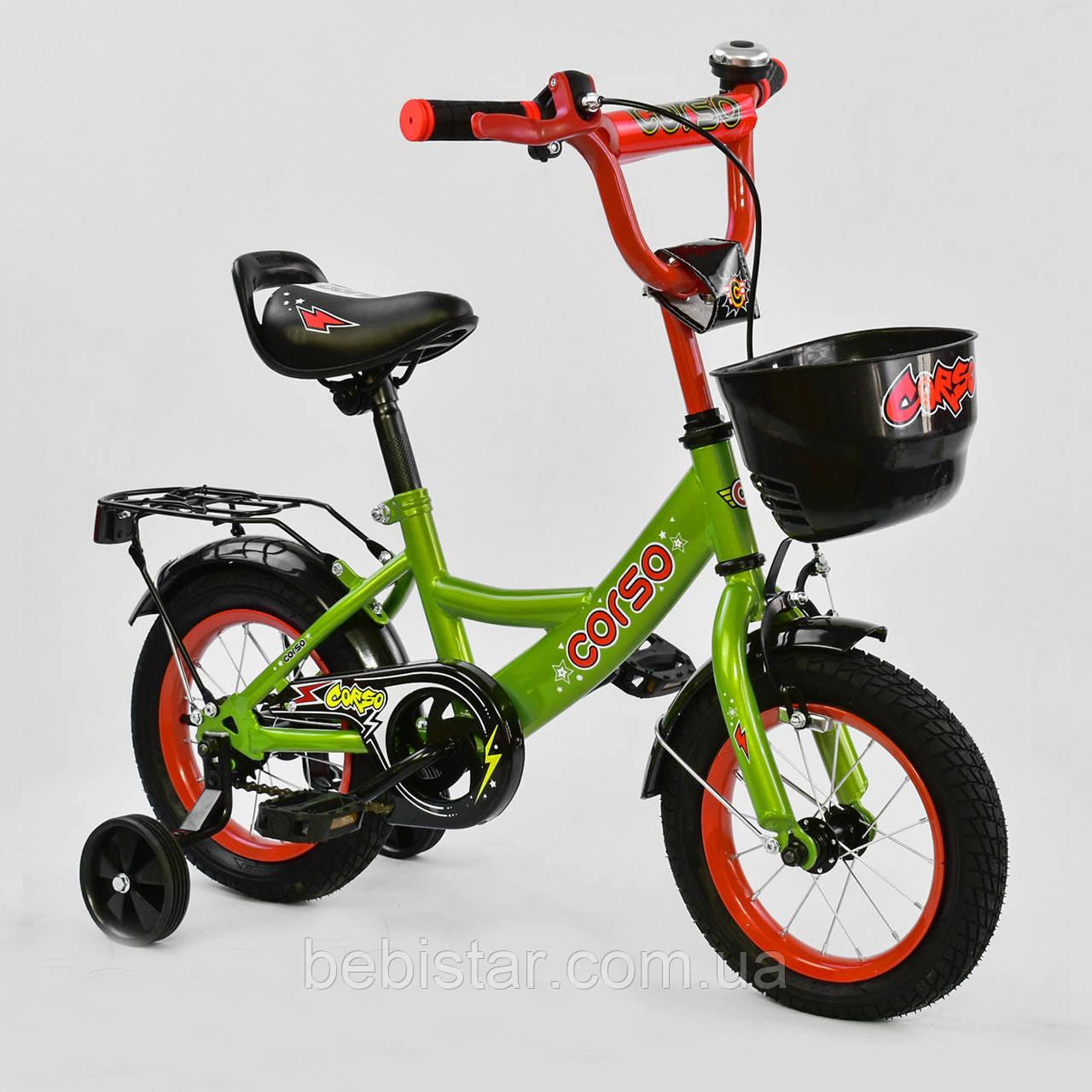 """Двухколесный детский велосипед зеленый ручной тормоз звоночек корзинка Corso 12"""" деткам 3-4 года"""