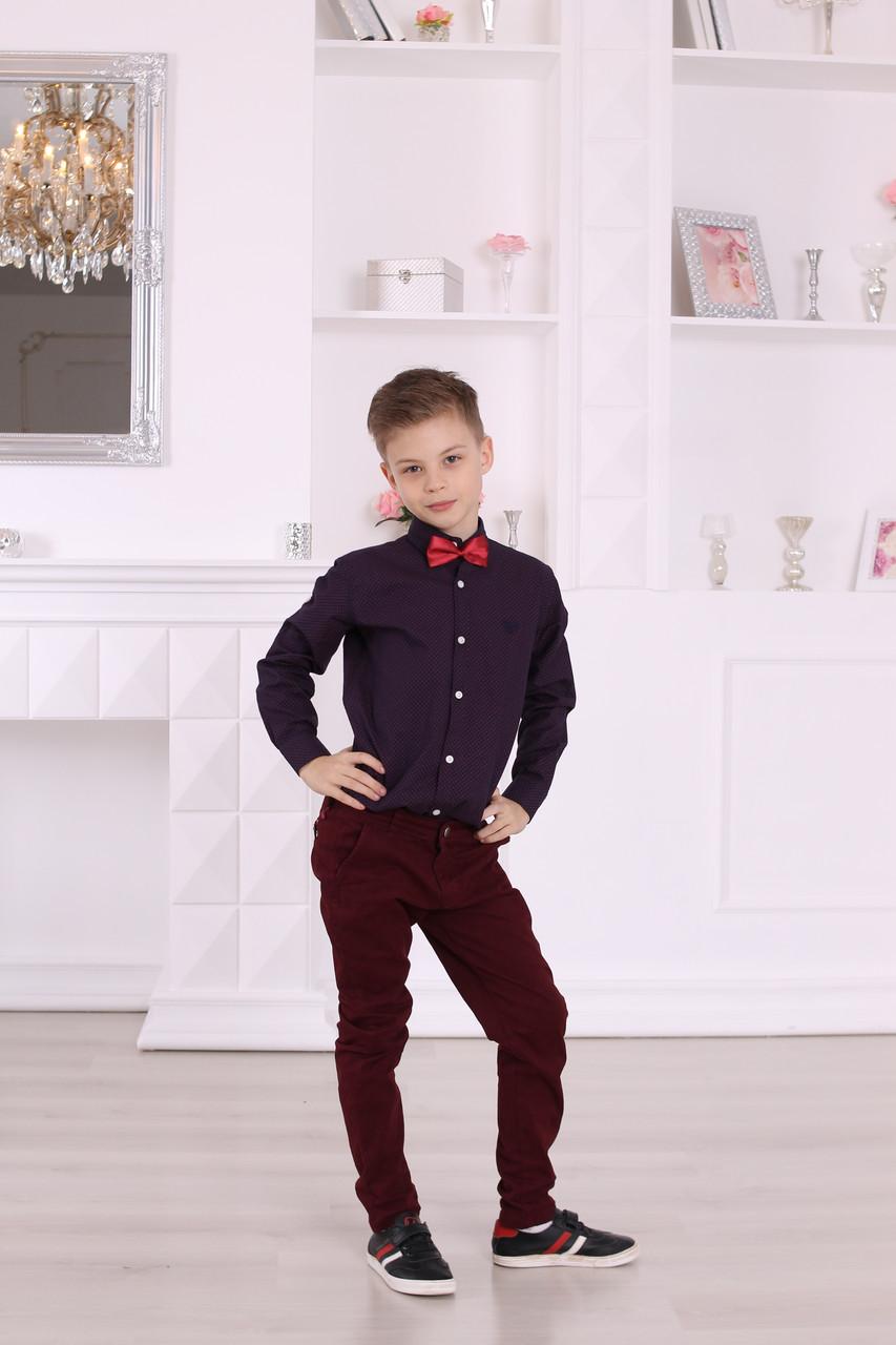 Стильный костюм для мальчика 7 лет: рубашка Armani и бордовые брюки
