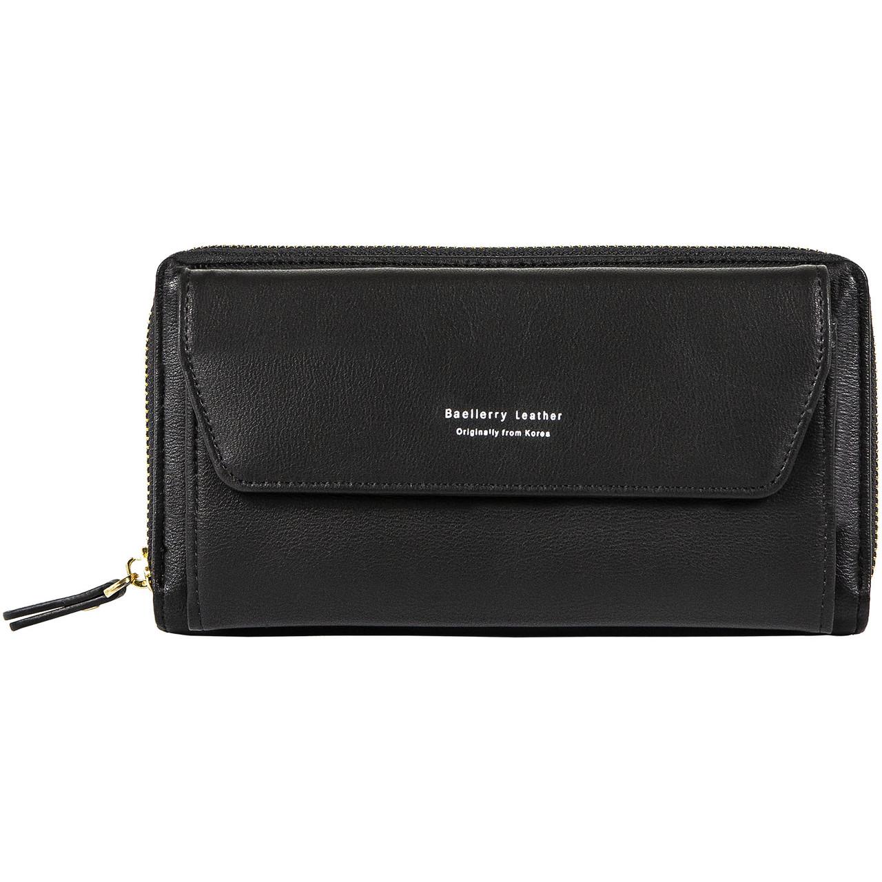 Женский Кошелек Клатч Baellerry Leather (N5509) на Молнии для Карточек с Ремешком Черный