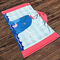 Полотенце махровое с капюшоном, для девочки. Дельфин. 76*127 см.