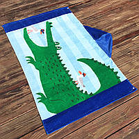 Полотенце махровое с капюшоном, для мальчика. Крокодил. 76*127 см.