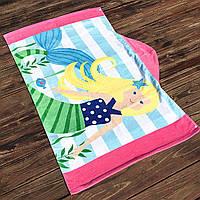 Полотенце махровое с капюшоном, для девочки. Русалка блондинка.