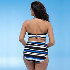 Купальник Раздельный. Бандо. Синие полосы Большие размеры., фото 2
