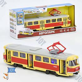 JT Трамвай 9708 А (24) подсветка, звук, открываются двери, инерция, в коробке