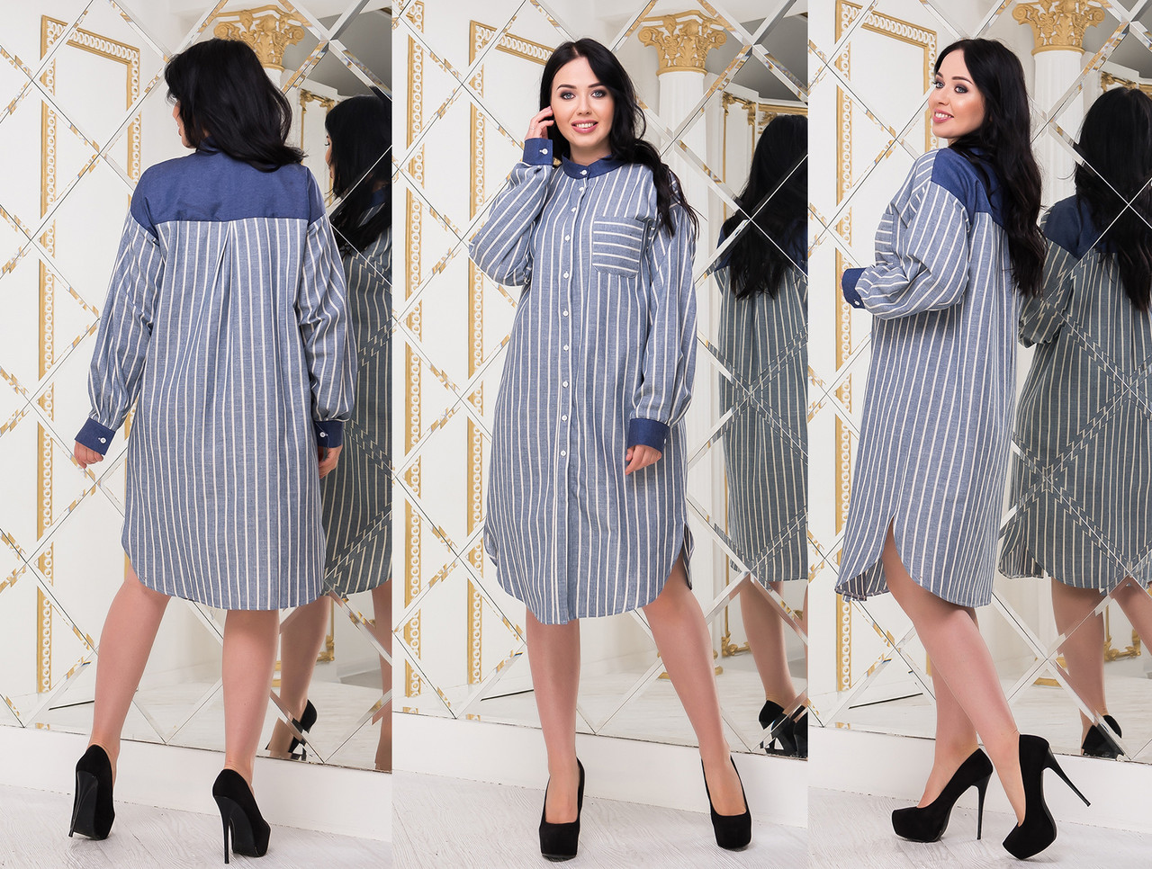 """Женское стильное платье-рубашка в больших размерах 5197 """"Лён Полоска Кокетка Джинс"""""""