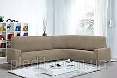 Чехол натяжной на Угловой диван Испания, Glamour Linen цвет: лён