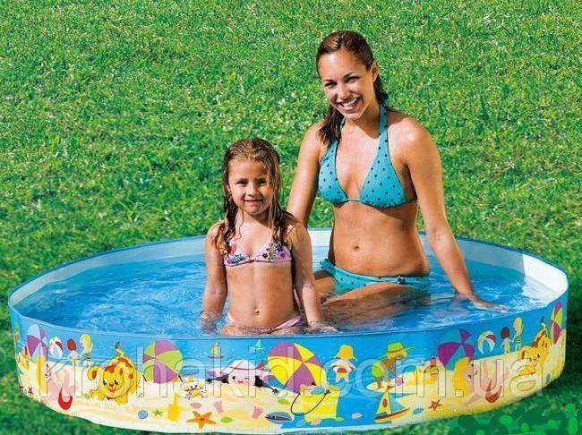 """Каркасный детский бассейн INTEX 56451 NP  """"Веселый пляж"""" размер 152*25 cm,  обьем воды 370 L."""