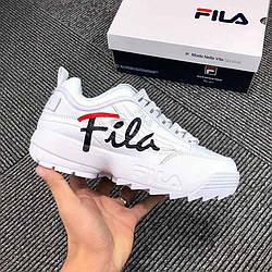 Фила кроссовки женские кожаные белые  повседневные (реплика) Fila Disruptor 3 White