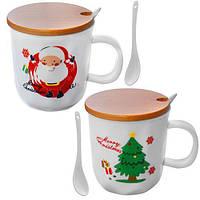 """Чашка с крышкой и ложкой """"Merry Christmas"""" 380мл"""