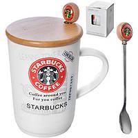 """Чашка с крышкой и ложкой """"Starbucks bamboo"""" 400мл 8*11.5см"""
