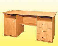 Стол письменный 2-тумбовый с 3 шухлядами и дверцей
