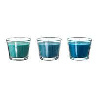 BRÄCKA  Ароматическая свеча в стакане, бирюзовый  3 шт