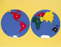 Карта континентов (пазлы) в деревянной раме