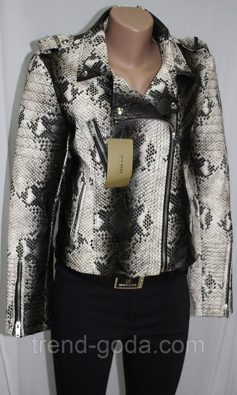 Куртка короткая женская, эко-кожа, под змеиную кожу
