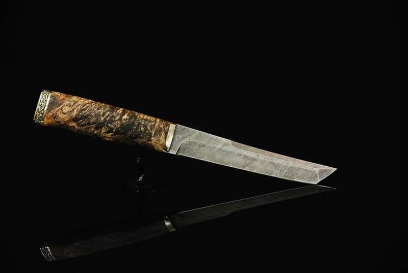 """Нож танто ручной работы """"Коричневый дракон"""", из дамасской стали"""