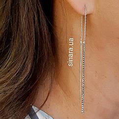 Серебряные серьги висюльки - Cсерьги протяжки серебряные - Длинные серьги серебро родированное
