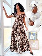 Длинное летнее платье-халат леопардовое