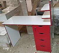 Маникюрный столик с красными фасадами, стационарный маникюрный стол. Модель V345