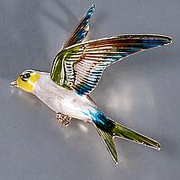 Брошка Пташка, 57*53 мм, 009РК