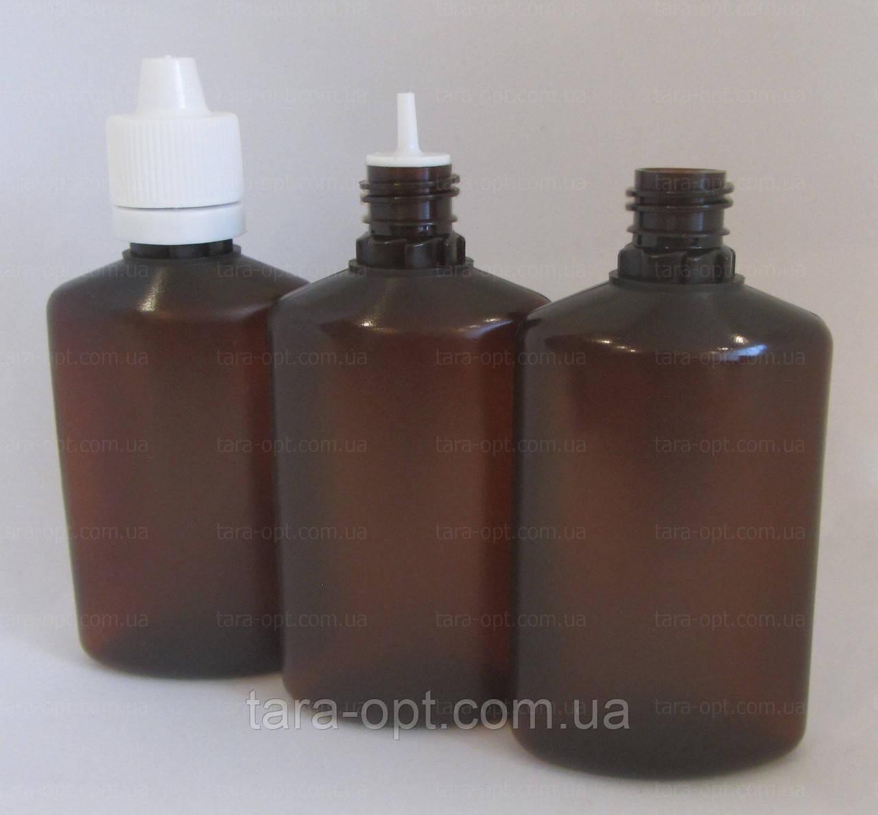 Флакон плоский 50 мл коричневый, зашита от детей (Цена от 2,75 грн)