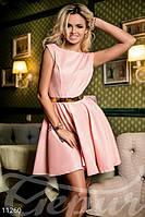 Женское молодежное платье короткое пышная юбка солнце застежка потайная молния сбоку полированный коттон, фото 1
