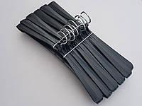 Плечики вешалки пластмассовые Гем-4 черного цвета, 42,5 см, 10 штук в упаковке
