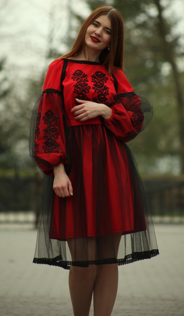 """Женское вышитое платье """"Скарлет"""" PJ-0005"""