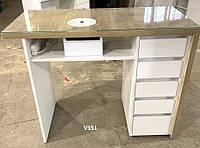 Маникюрный стол с вытяжкой, маникюрный стол со стеклом на столешнице. Модель V351 белый / дуб сонома, фото 1