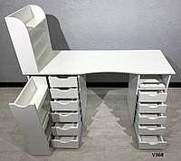 Вместительный маникюрный стол с ящиками и полками для лаков. Модель V368 белый, фото 1