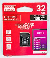 Карта памяти microSD GOODRAM 32 GB class 10 UHS-1 + Adapter, фото 1