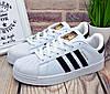 """✅ Кроссовки Adidas Superstar """"Black Stripes"""" женские/подростковые белые,  Адидас Суперстар  Вьетнам - Фото"""