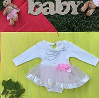 Боди - платье  с длинным рукавом для девочки 50,56,62