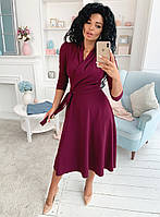 Женское приталенное платье с юбкой клёш ниже колен 42-44,44-46
