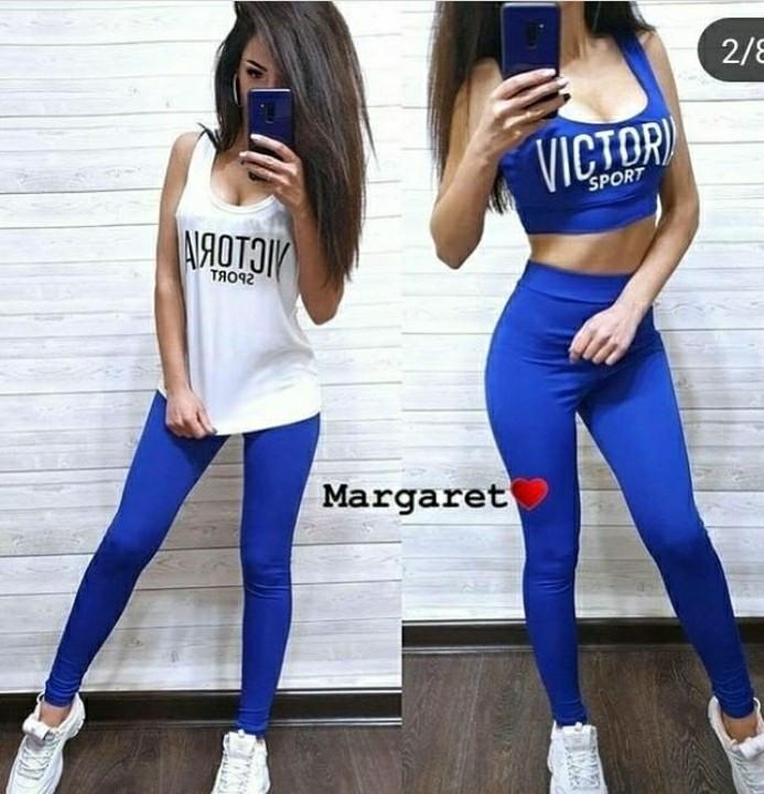Модный спортивный фитнес костюм 3ка VICTORIA  (лосины+топ+майка) Размеры  42-44, 46-48.