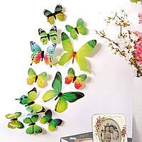 3D наклейки – бабочки (12 штук). Декор интерьерный для стен, потолка, мебели. Виниловые – зеленые.