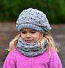 Ёжик, ажурная шапка-берет. от 6 лет. р. 53-58. т.розовый