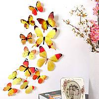 3D бабочки для декора 12 шт. Виниловые наклейки - бабочки на стену желтые.