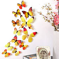 3D наклейки – бабочки (12 штук). Декор интерьерный для стен, потолка, мебели. Виниловые – желтые.