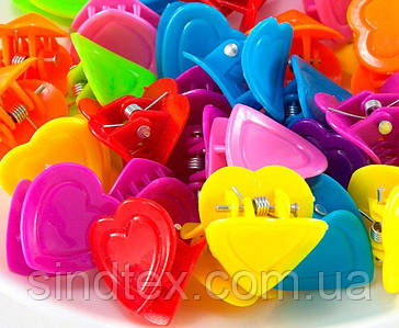 """(95-100шт) Детские крабики для волос 18х17х18мм,""""Сердечки"""" Цвета - Микс"""