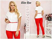 Классическая женская блуза с контрастным поясом р. 50-52 54-56 58-60, фото 1