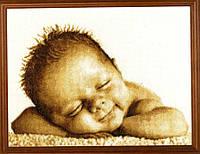 Набор для вышивания крестиком Младенец. Размер: 28,5*18 см