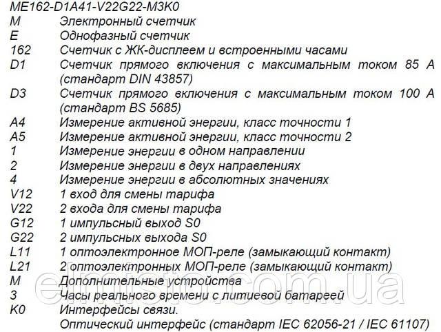 Структура условного обозначения счетчиков ISKRA ME162