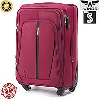Малый качественный дорожный  чемодан на 4 колесах бордовый фирма  Wings Одесса Украина