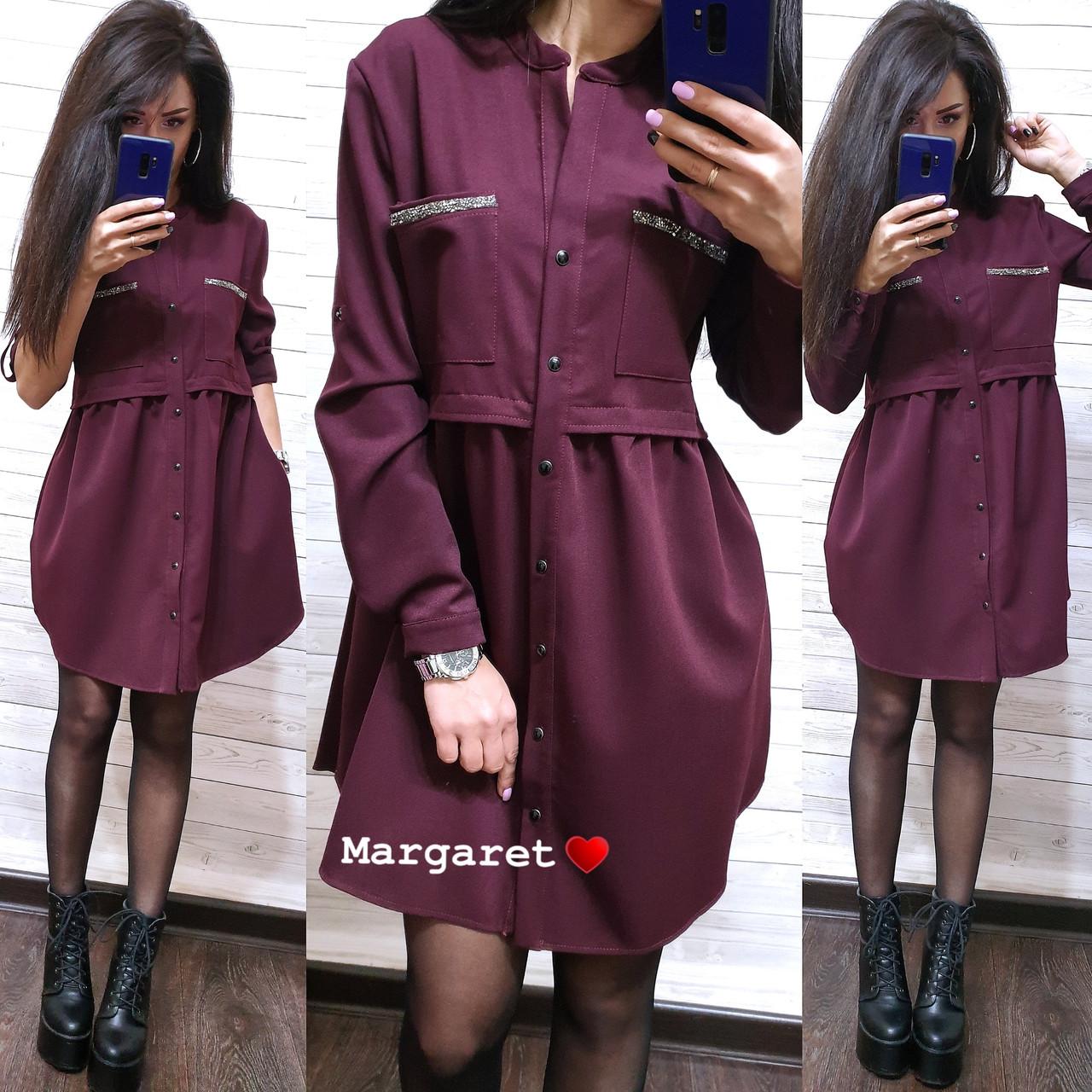 Модное платье-рубашка свободного кроя, размеры S(42-44) M(44-46)