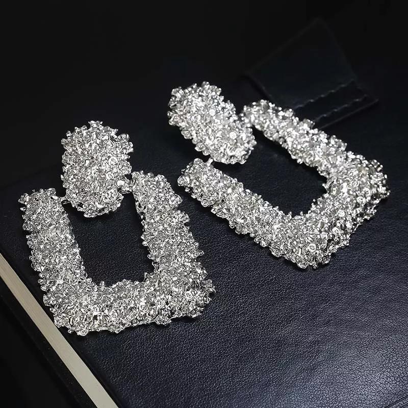 Серьги сережки Трапеция стильные ,металлические квадратные капли круг асимметричные длинные большие вечерние