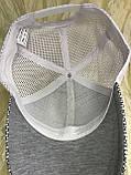 Бейсболка светло серая  с  белой сеткой унисекс, фото 4