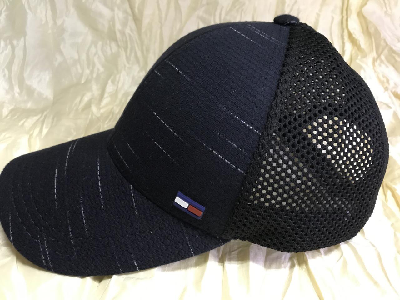 Мужская бейсболка синяя с чёрной сеткой