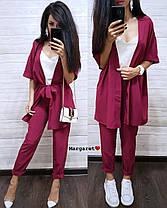 Стильный костюм тройка (накидка с поясом, майка, штаны), размеры 42-44, 44-46, фото 2
