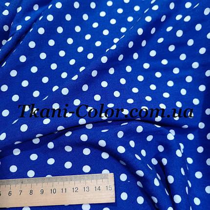 Ткань штапель принт белый горох на синем фоне, фото 2